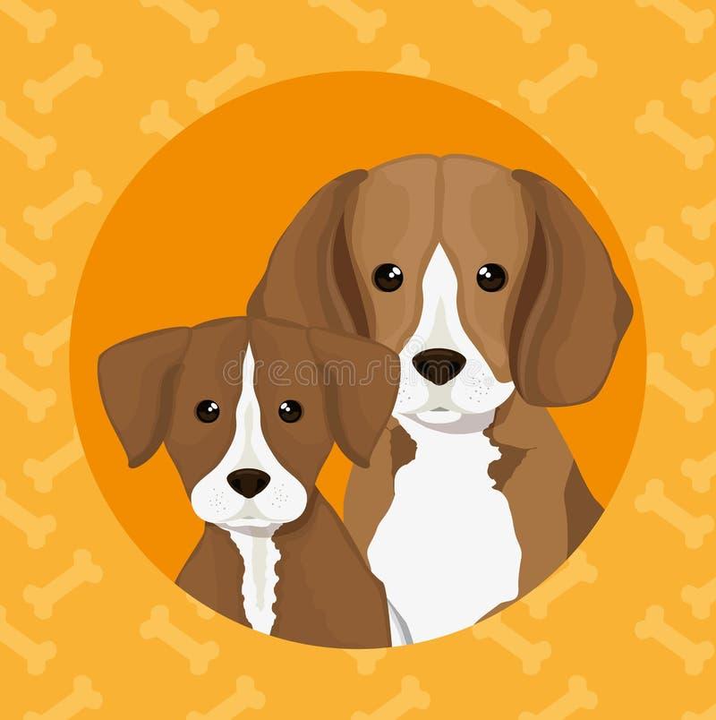 Hund född upp älsklings- vänskapsmatch stock illustrationer