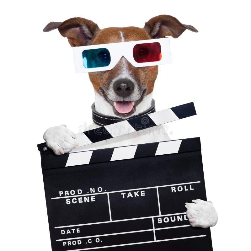Hund för exponeringsglas för filmclapperbräde 3d arkivfoton