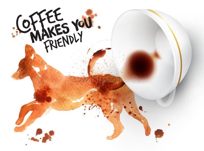 Hund för löst kaffe för affisch royaltyfri illustrationer