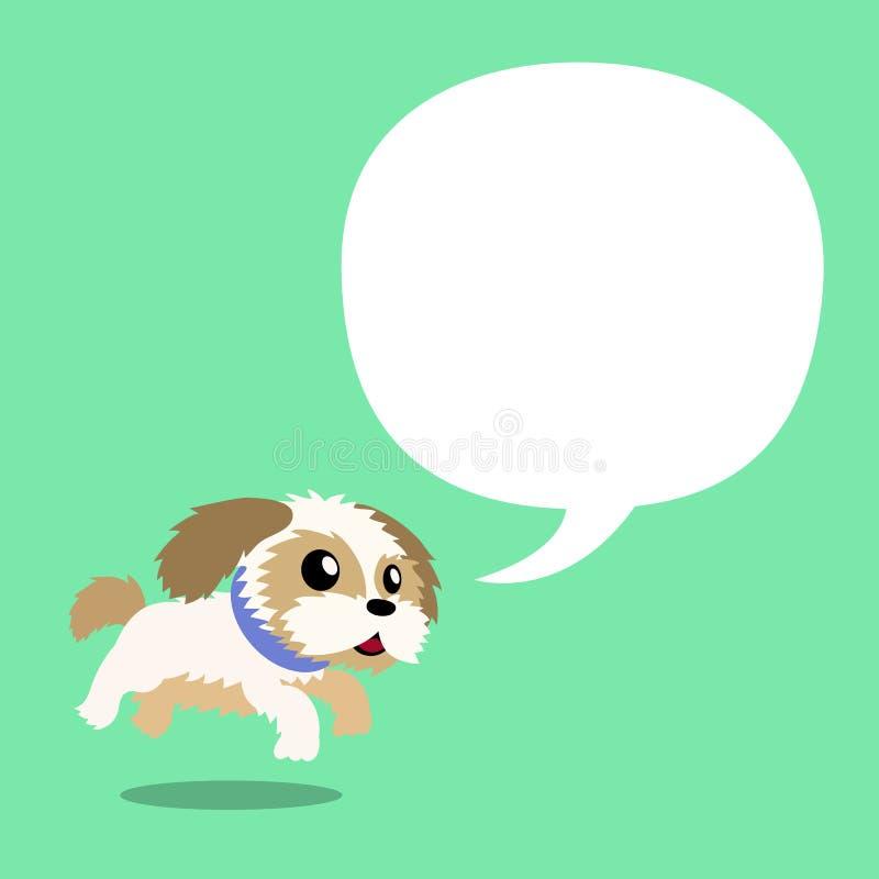 Hund för tzu för shih för vektortecknad filmtecken med anförandebubblan royaltyfri illustrationer