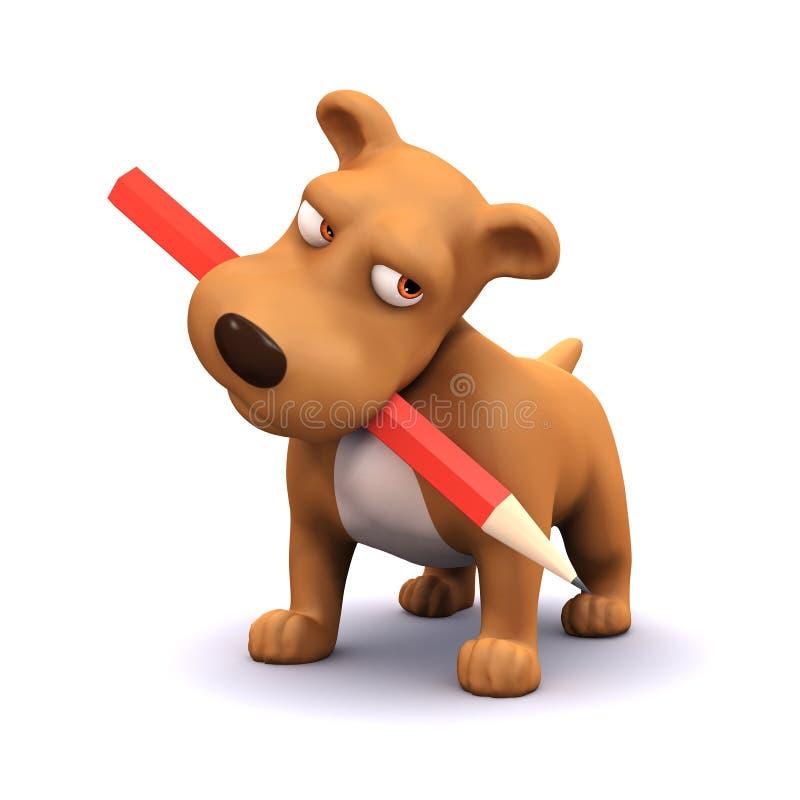 hund för valp 3d med blyertspennan i mun vektor illustrationer