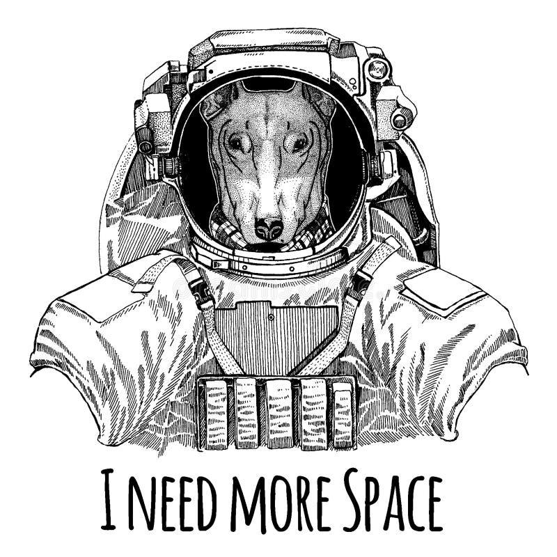 HUND für T-Shirt Design Astronauten Raumanzug Übergeben Sie gezogenes Bild des Löwes für Tätowierung, T-Shirt, Emblem, Ausweis, L stock abbildung