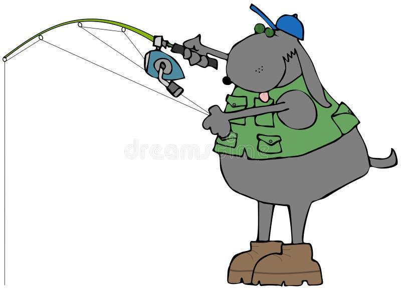 Hund- fiskare stock illustrationer