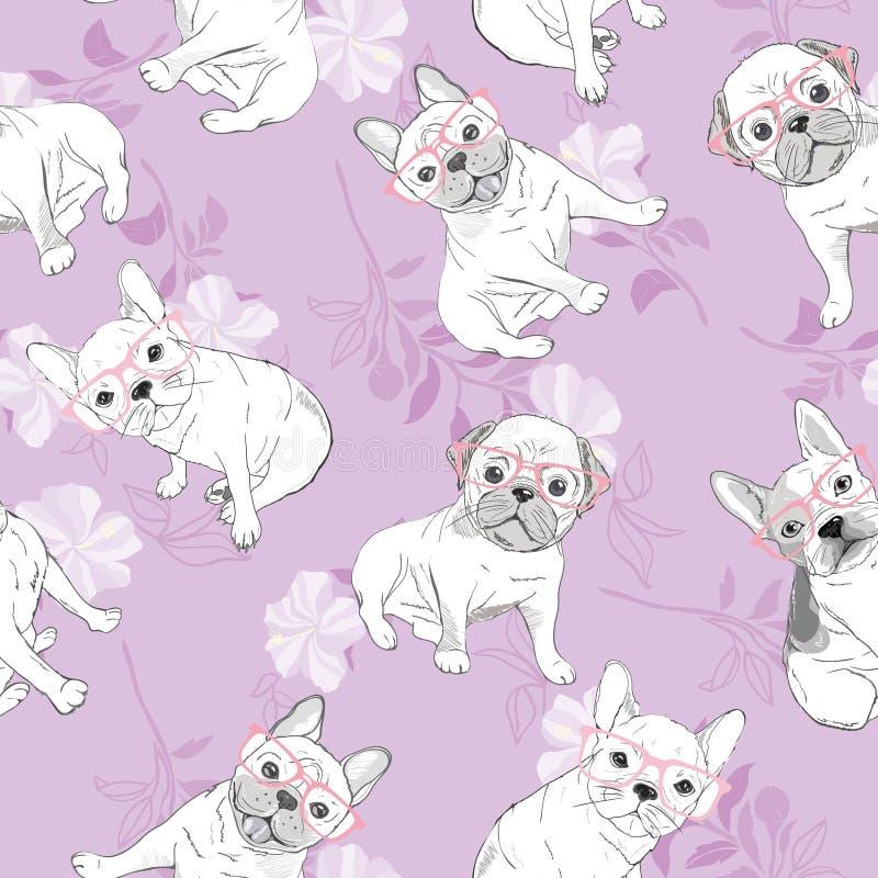 Hund Französische Bulldogge Herz-Sonnenbrille Dieses ist Datei des Formats EPS10 Muster-Tapetenhintergrund der Illustration nahtl vektor abbildung
