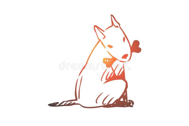 Hund gå som är utomhus-, husdjur, inhemskt begrepp Hand dragen isolerad vektor royaltyfri illustrationer