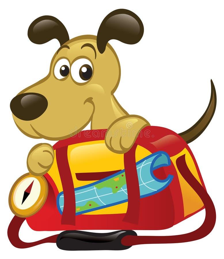 Hund hinter einem großen Reisen-Beutel stock abbildung