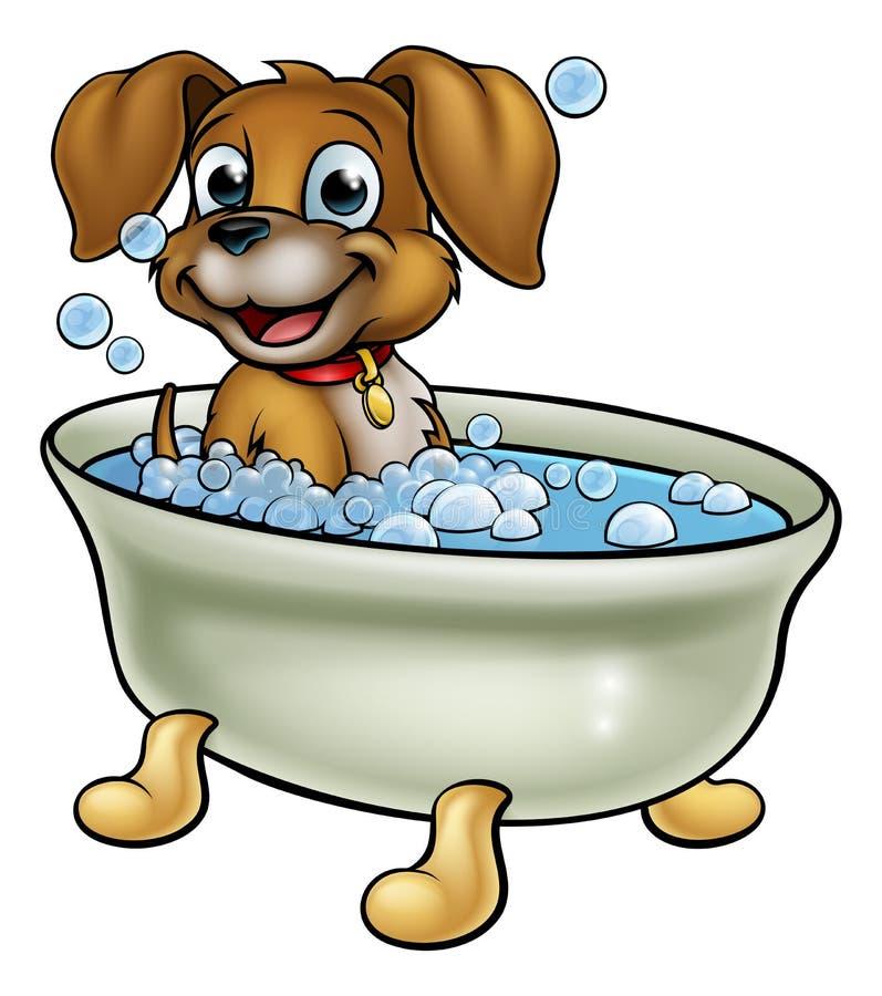 Hund i badtecknade filmen stock illustrationer