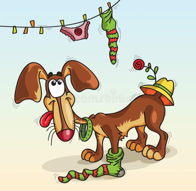 Hund i en socka vektor illustrationer