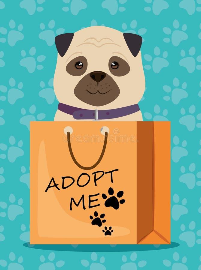 Hund i husdjurvänskapsmatch för pappers- påse stock illustrationer