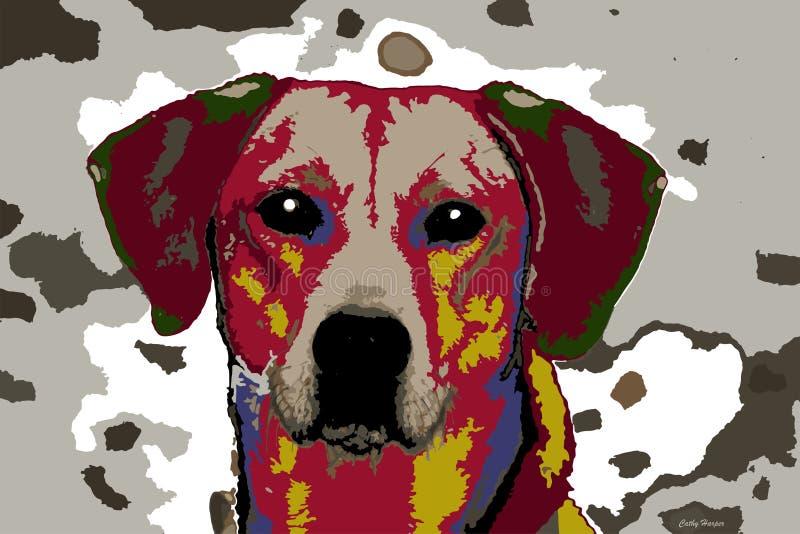 Hund i patchwork av färger arkivbilder