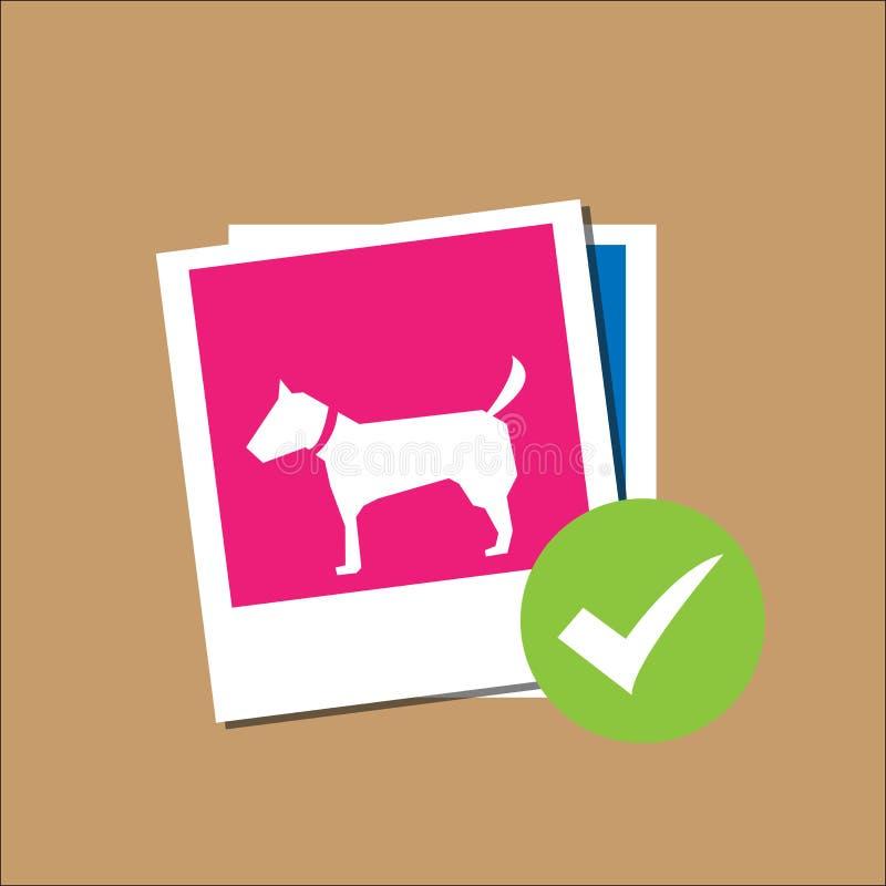 Hund i polaroidkamerapappersram stock illustrationer