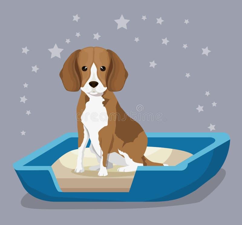 Hund i vänskapsmatch för sandaskhusdjur royaltyfri illustrationer