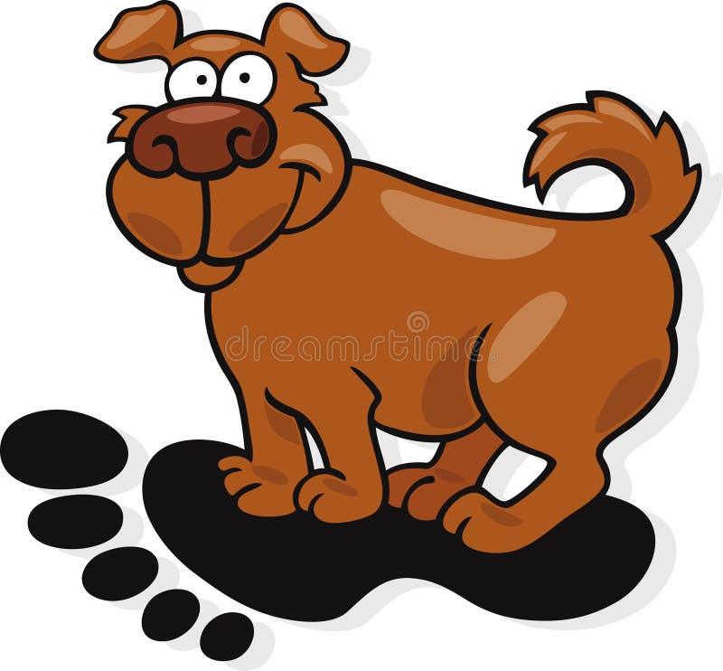 Hund im Großen menschlichen Abdruck vektor abbildung