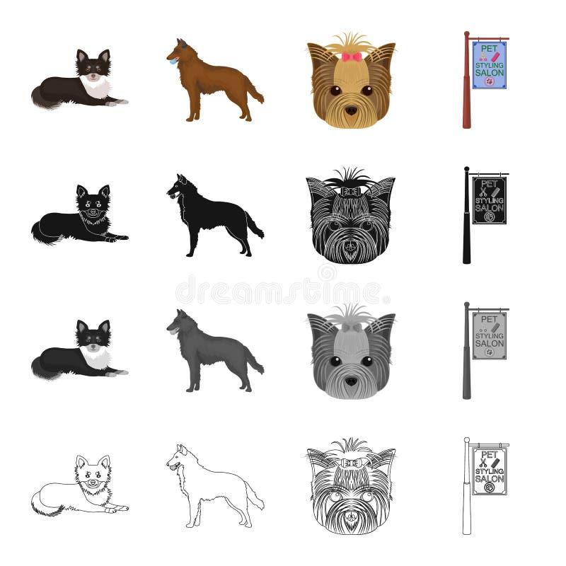 Hund, inländisches, Tier und andere Netzikone in der Karikaturart Hygiene, Verhinderung, Jagdhundikonen in der Satzsammlung stock abbildung