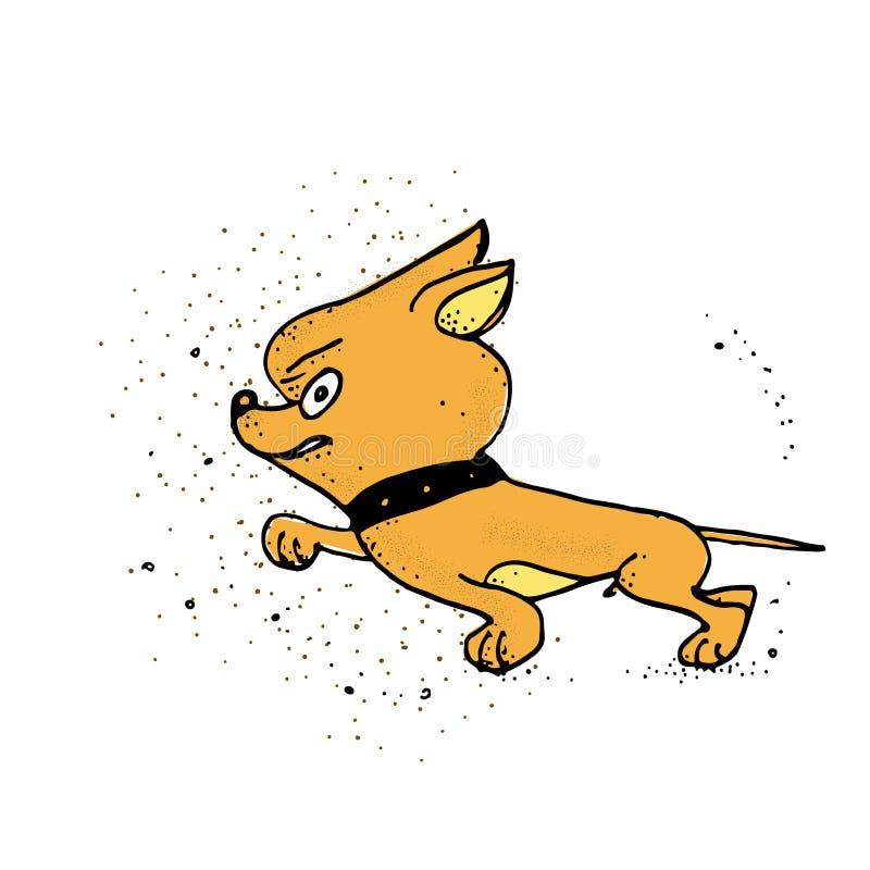 Hund jagd Netter Hund Plakat, T-Shirt Zusammensetzung, handgemachter Druck lizenzfreie abbildung