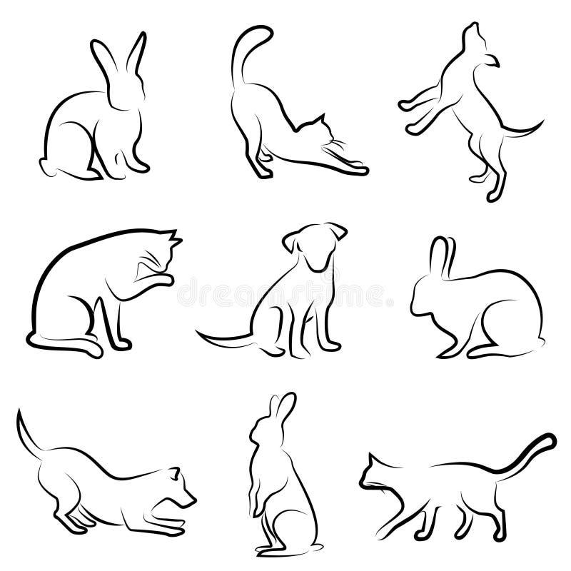 Hund, Katze, Kaninchentierzeichnung lizenzfreie abbildung