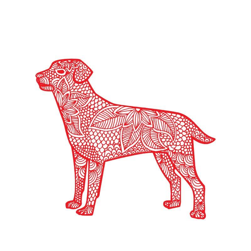 Hund-kines zodiak royaltyfri illustrationer