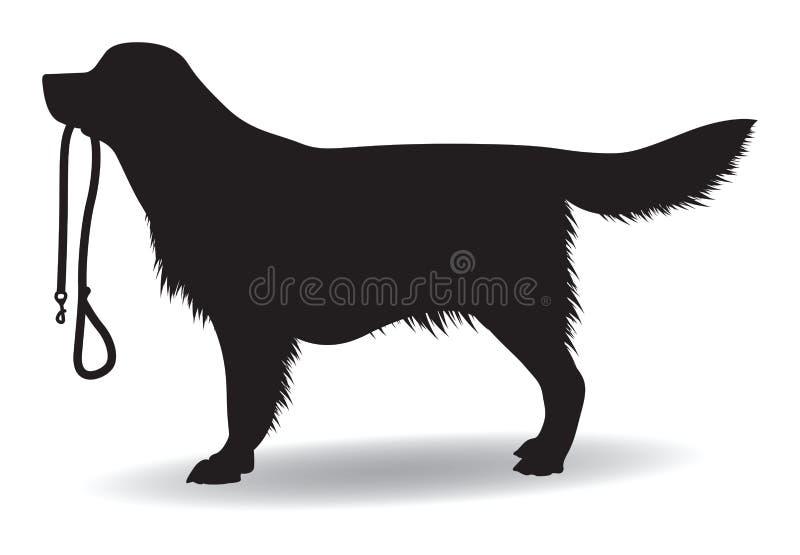 Hund med en ledning stock illustrationer