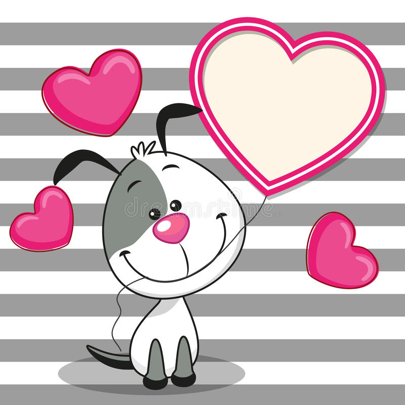 Hund med hjärtaramen royaltyfri illustrationer