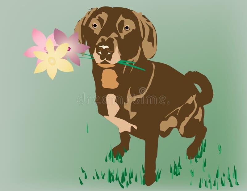 Hund mit Blumen vektor abbildung