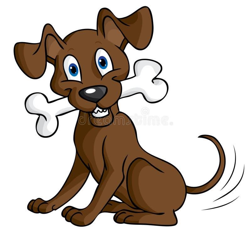 Hund mit dem Knochen lizenzfreie abbildung