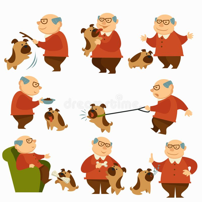 Hund mit Eigentümer, Pensionär mit Haustier auf dem Leinengehen vektor abbildung