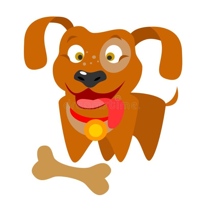 Hund mit einem Knochen lizenzfreie abbildung