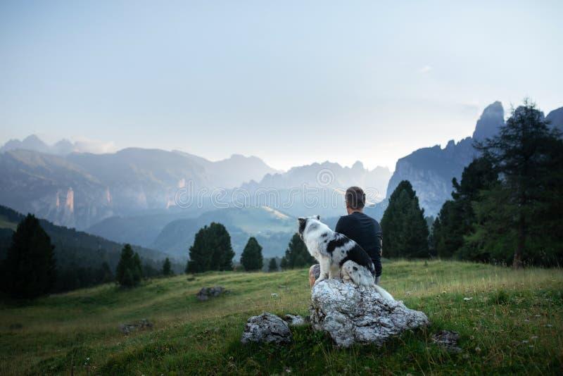 Hund mit einem Mann in den Bergen bei Sonnenaufgang Reise mit einem Haustier lizenzfreies stockfoto