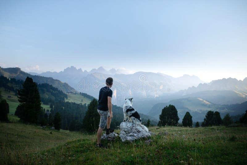 Hund mit einem Mann in den Bergen bei Sonnenaufgang Reise mit einem Haustier stockbild