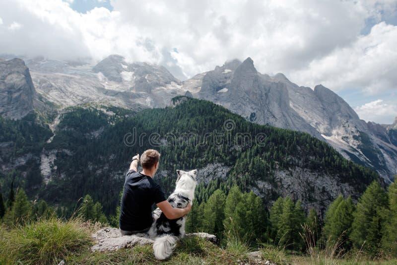 Hund mit einem Mann in den Bergen bei Sonnenaufgang Reise mit einem Haustier stockfotografie