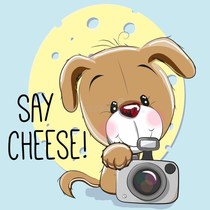 Hund mit einer Kamera stock abbildung