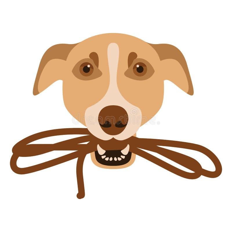 Hund mit einer Leine in seinen Zähnen stellen Front gegenüber lizenzfreie abbildung