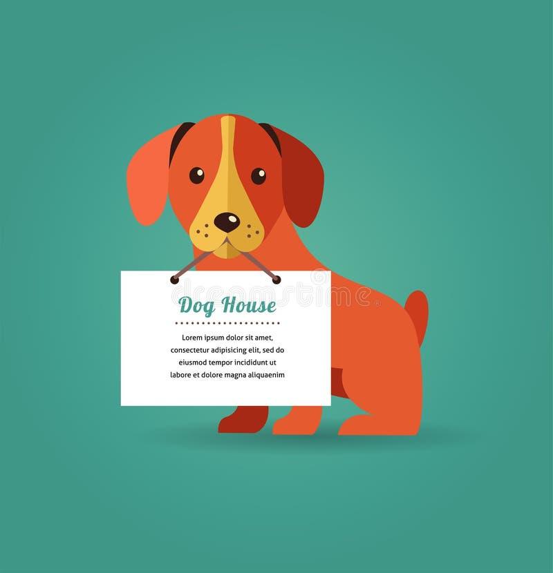 Hund mit Textzeichen lizenzfreie abbildung
