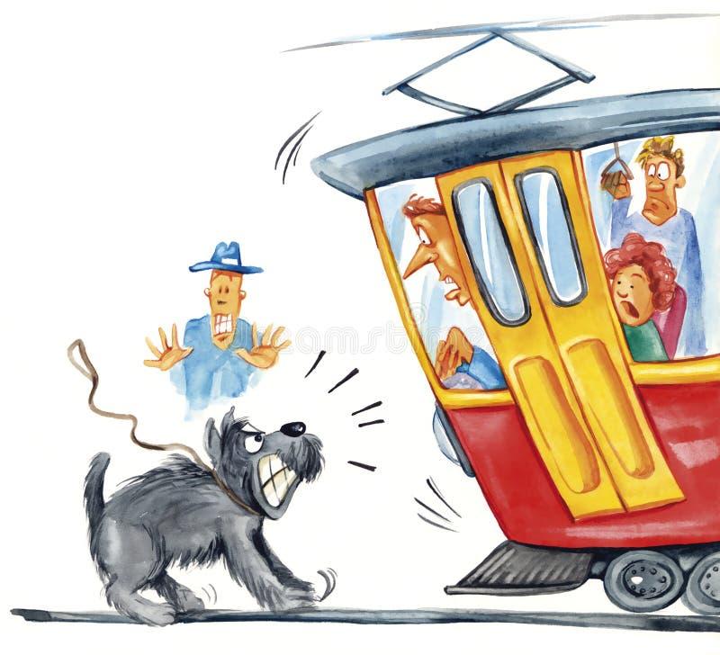 Hund nimmt Förderwagen in Angriff stock abbildung