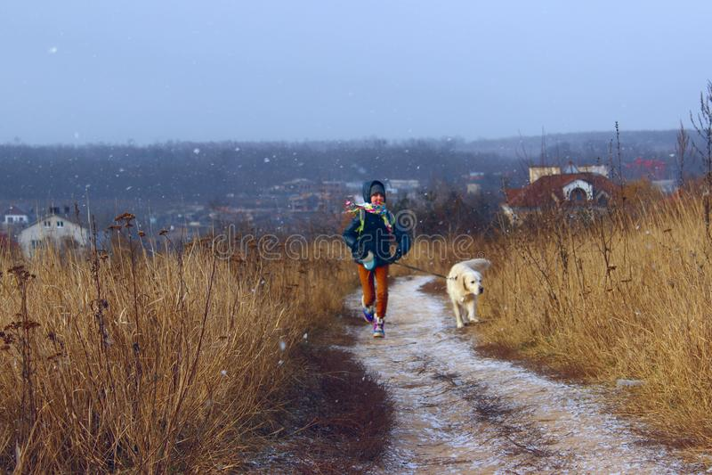 Hund och ägare som är utomhus- Spela för golden retriever som är utomhus- royaltyfria foton
