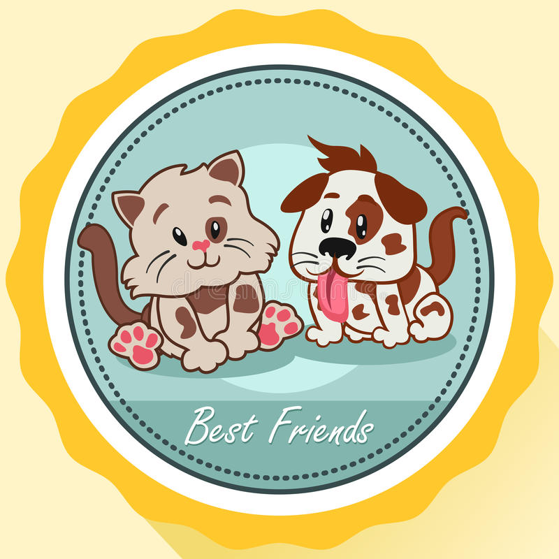 Hund och Cat Best Friends Poster royaltyfri illustrationer