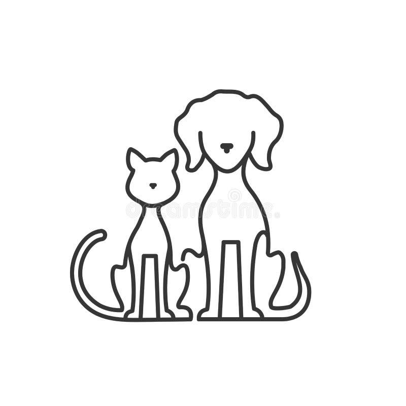 Hund och katt silhouette royaltyfri illustrationer