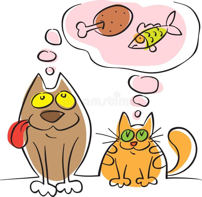 Hund och katt som drömmas om att äta royaltyfri illustrationer
