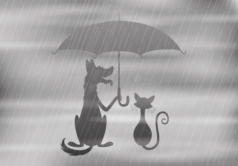 Hund och katt under paraplyet vektor illustrationer
