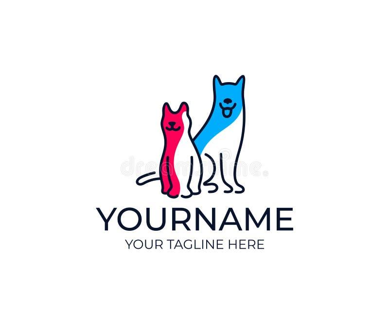 Hund- och kattlogomall Veterinär- vetenskap och omsorg bak husdjurvektor planlägger royaltyfri illustrationer