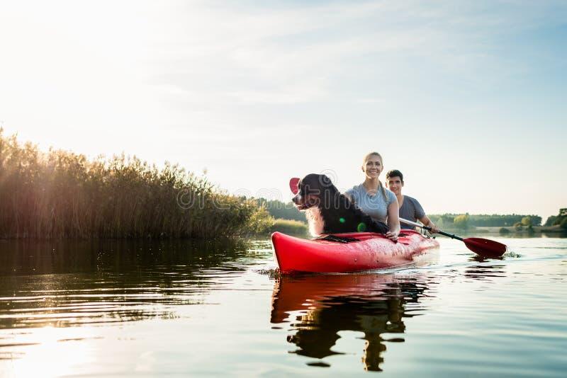 Hund och kvinna som sitter med en man som kayaking royaltyfria foton