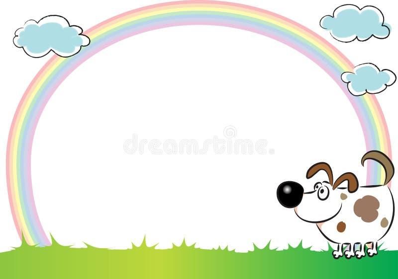 Hund och regnbåge i bakgrunden stock illustrationer