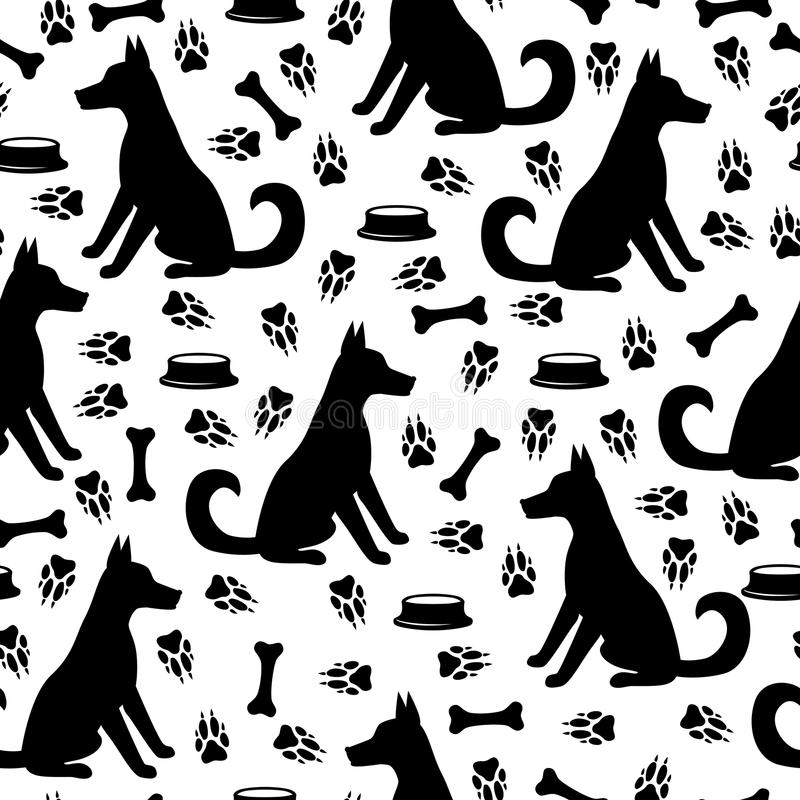 Hund och sömlös fotspårmodell vektor illustrationer