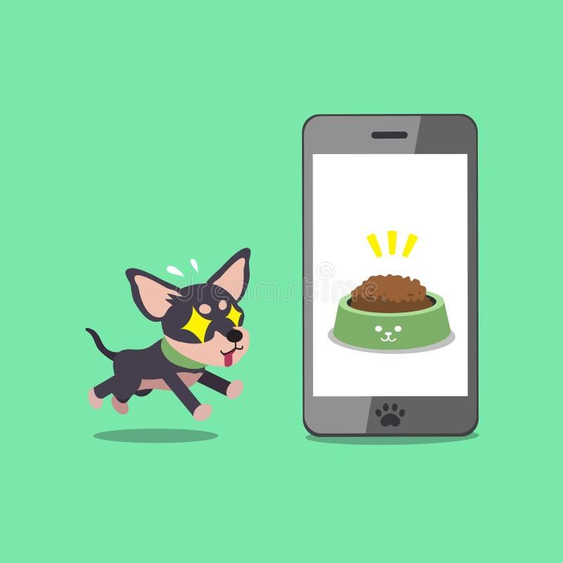 Hund och smartphone för chihuahua för tecknad filmtecken gullig stock illustrationer