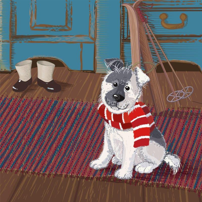 Hund på en filt stock illustrationer