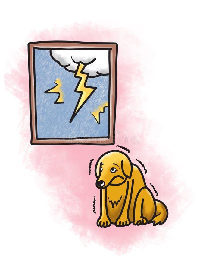 Hund som är rädd av illustration för åskablixttecknad film royaltyfri illustrationer