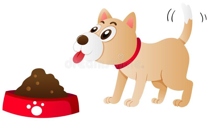 Hund som äter mat från bunken royaltyfri illustrationer