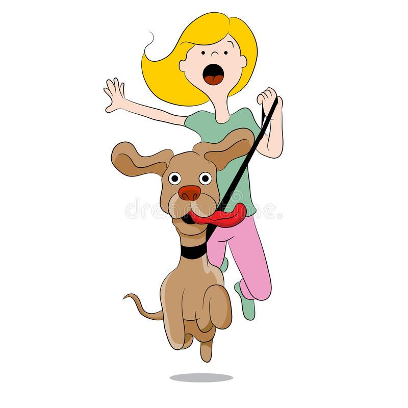 Hund som drar kvinnan royaltyfri illustrationer