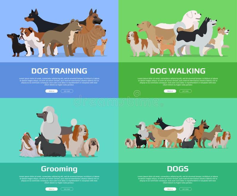 Hund som går och att utbilda och att ansa baner royaltyfri illustrationer