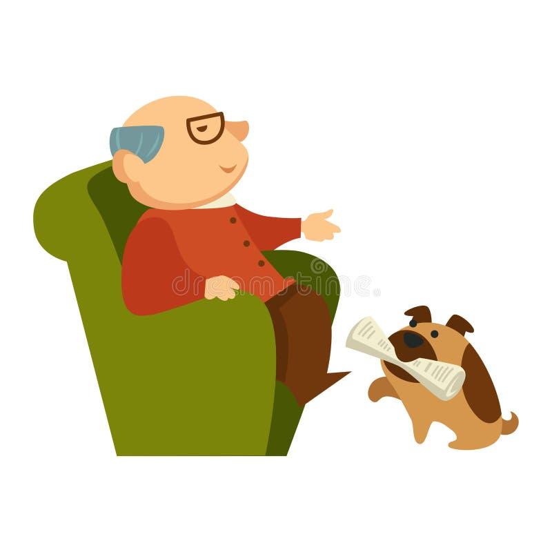 Hund som hämtar en tidning för morfadern som sitter i fåtöljen vektor illustrationer